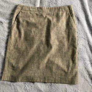 Banana Republic Brown Linen Pencil Skirt Sz 10